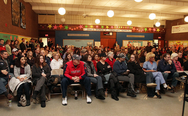 Hundreds of concerned parents of Burke Elementary students sat and listened to a panel of speakers including Peabody School Superintendent Herb Levine and ETA Officials as they discussed the possible relocation of the students as a result of PCB's in the air/David Le/Salem News