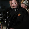 Peabody: Ed Kelly, president of the Professional Firefighters of Massachusetts union, speaks about the passing of veteran Peabody firefighter Jim Rice on Friday evening. David Le/Salem News