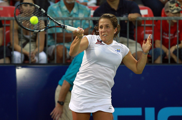Boston Lobsters women's singles player Irina Falconi concentrates as she returns a serve against Philadelphia Freedoms player Kristyna Pliskova on Monday evening. David Le/Staff Photo