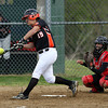 Beverly second baseman Natalie Shea (19) lines a base hit against Salem on Tuesday. David Le/Staff Photo