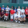 Beverly: Family members of the late J.J. Nicastro, kneeling, pose with the 16 winners of the J.J. Nicastro Sportsmanship award. This award was given out before the District 15 Little League Championship game at Harry Ball field in Beverly on Friday evening. Photo by David Le/Salem News