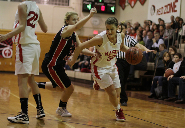 Topsfield: Masco senior Brooke Stewart (32) right, drives past a North Andover defender on Tuesday night. David Le/Salem News