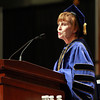 Patricia Meservey, President of Salem State University, addresses the Salem State Graduate students on Thursday afternoon during their commencement ceremony. David Le/Staff Photo