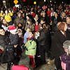 A large crowd gathered outside hte Hawthorne Hotel in Salem on Friday night awaiting the arrival of Santa Claus. David Le/Salem News