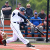 Danvers High School junior Scott Hovey lines an RBI double into the gap against Burlington on Wednesday afternoon. David Le/Staff Photo