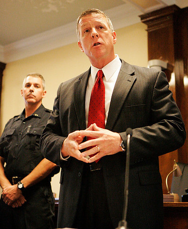 Beverly: Beverly Police Chief Mark Gray speaks to families and co-workers in a ceremony to acknowledge the promotions of Lt. Shairs, Sgt. David Faustino, and Sgt. Richard Russo on Tuesday evening at Beverly City Hall. Photo by David Le/Salem News