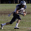 Swampscott receiver Richard Sullivan (17) hauls in a pass from quarterback Mike Walsh against Marblehead on Thanksgiving Day. David Le/Salem News