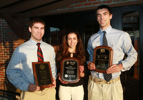 Isaac Carp, left, from Pingree, Ally Colarusso, center, from The Waring School, and Steve Haladyna, from St. John's Prep received awards at the IAABO 130 Board Banquet on Tuesday afternoon at Danversport Yacht Club. David Le/Staff Photo