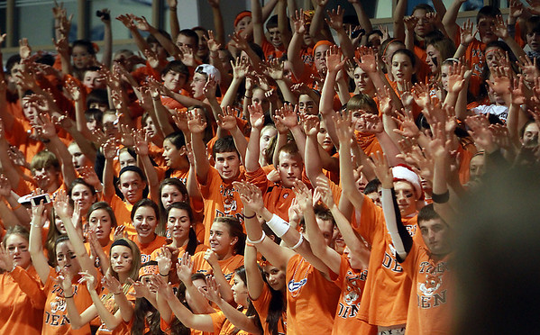Ipswich High School fans cheer on their team during the Tigers' game against Bedford on Wednesday night at St. John's Prep. David Le/Staff Photo