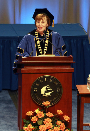Salem State University President Patricia Meservey addresses the class of 2012 on Saturday afternoon. David Le/Staff Photo