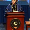 Salem State University President Patricia Meservey addresses the class of 2012 on Saturday afternoon. David Le/Staff Photo