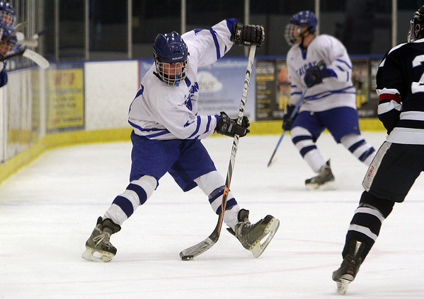 Beverly: Danvers' Jay Calcagno dangles with the puck into the offensive zone. David Le/Salem News