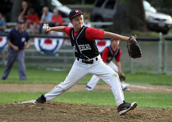 Marblehead starting pitcher Max Karass fires a strike against Peabody in the Gallant Tourney Final at Forest River Park in Salem on Tuesday evening.