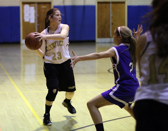 Peabody: Bishop Fenwick's Gianna Pizzano (23) looks to pass against Danvers on Wednesday. David Le/Salem News