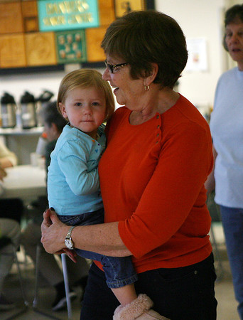 Tallulah Maycock, 2, of Ipswich dances with her grandmother Sue Evans, of Danvers at the Danvers Senior Center on Wednesday afternoon. David Le/Salem News