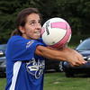 Sabrina D'Angelo, 15, of Peabody, plays volleyball at Forest River Park on Tuesday evening.David Le/Staff Photo