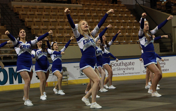 The Danvers High School Cheerleaders cheer on the Falcons during the D3 State Championship on Saturday afternoon at the DCU Center in Worcester. David Le/Staff Photo