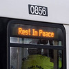 Peabody: An MBTA bus carrying Fire Chiefs from around Massachusetts displayed a tribute to fallen Peabody firefighter Jim Rice. David Le/Salem News