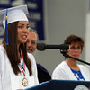 Swampscott Senior Vice-President Lara Dandreo delivers the Invocation to her classmates on Sunday afternoon. David Le/Staff Photo