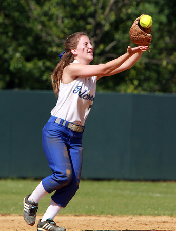 Danvers High School second baseman Chrissy Gikas catches an infield pop up against Dracut in the D2 North Semi-Final on Sunday afternoon. David Le/Staff Photo