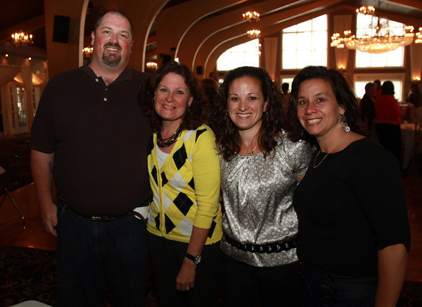 Beverly teachers from left, Michael Bailey, Janet Doig, Jen Chirco, and Kelly Daly at a Celebration of Excellence, honoring retiring and new teachers, at the Danversport Yacht Club. David Le/Staff Photo