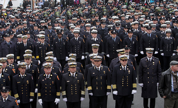 Peabody: Thousands of firefighters from local communities as well as across the country gathered outside St. Vasilios Greek Orthodox Church on Friday morning to honor fallen Peabody firefighter Jim Rice. David Le/Salem News