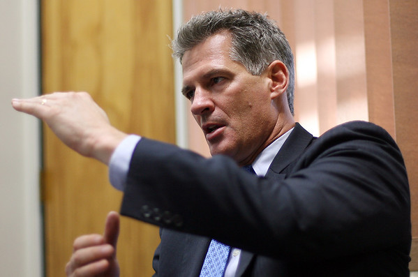 US Senator Scott Brown talks with The Salem News on Friday afternoon. David Le/Salem News