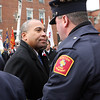 Peabody: Massachusetts Governor Deval Patrick shakes hands and briefly talks with Ed Kelly, President of the Professional Firefighters of Massachusetts, following the funeral ceremonies for Peabody firefighter Jim Rice. David Le/Salem News