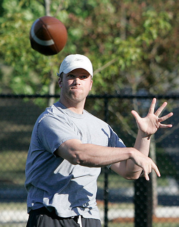 Danvers: Brian St. Pierre, a former St. John's Prep and Boston College quarterback standout, is currently a free agent and took some time on Thursday afternoon to throw some passes to current St. John's Prep football players. Photo by David Le/Salem News