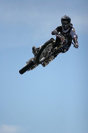 Peobody: Extreme moto cross rider Ryan Hagy, performs during a rehearsal jump Friday. The event is open to the public today starting at noon. Photo by David Le/Salem News.