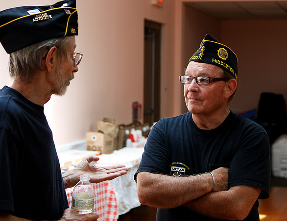 Middleton: Greg Strojny, left, and Bruce Sweeter, chat at a luncheon held by the American Legion Post 227 in Middleton for veterans from the Chelsea Soldiers home on Saturday afternoon. Photo by David Le/Salem News