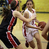 Topsfield: Masco senior Chelsea Nason (3) drives into the lane against North Andover on Tuesday night. David Le/Salem News