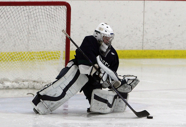 Pingree goalie Lindsay O'Connell stops a shot on net. David Le/Staff Photo