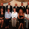"Beverly High School Hall of Fame Inductees. Front Row (L-R) Brigid Burke-Durant, Sarah Pierce-Manfre, Shannon Corliss, Amy St. Pierre, and Kristen Macdonald. Back Row (L-R) Chuck Reynolds standing in for Thomas ""Doc"" Rudkin, George Misins, Frank Forti, Dana Peters, and Steve Davidson, standing in for Jamie Grandmont. David Le/Staff Photo"