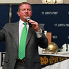 Notre Dame head football coach Brian Kelly speaks at the Danversport Yacht Club on Thursday evening to members of his alma mater, St. John's Prep. David Le/Staff Photo