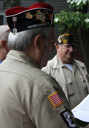 "Salem: Salem Veterans Roger Leger, left, Commander of the Salem Veterans Concil, and Bruce Salaman, Commander of the VFW Post, held a ceremony Monday morning to honor Captain William Driver, a Salem man who gave the name ""Old Glory"" to the American flag. Photo by David Le/Salem News"