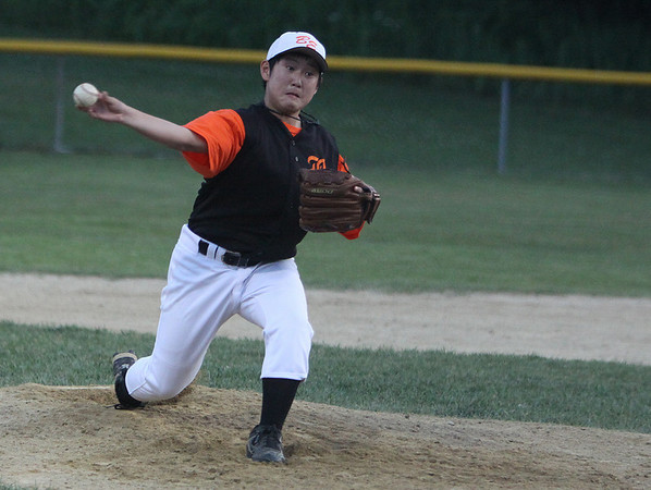 Gloucester: Beverly East starting pitcher, Danny Rowe, hurls a strike to a Salem American batter in the opening game of the all-star tournament held Friday evening in Gloucester. Photo by David Le/Salem News