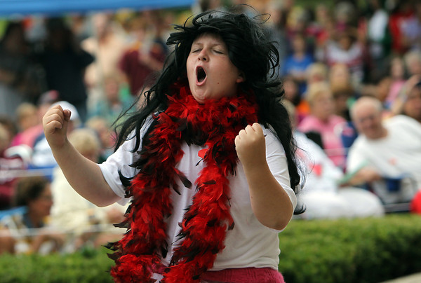 "Alex Bloomer, 12, sings and dances to Whitney Houston ""I WIll Always Love You"" during the Annual Beverly Homecoming Lip Synching Competition on Tuesday evening in the half shell at Lynch Park. David Le/Staff Photo"
