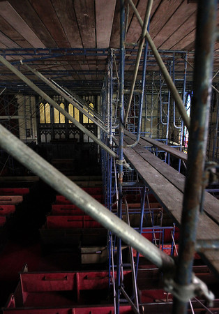 The ceiling of the First Church on Essex St. in Salem was painted for the first time in over 100 years. The scaffolding used to paint the ceiling was still standing on Tuesday afternoon after work was completed. David Le/Staff Photo
