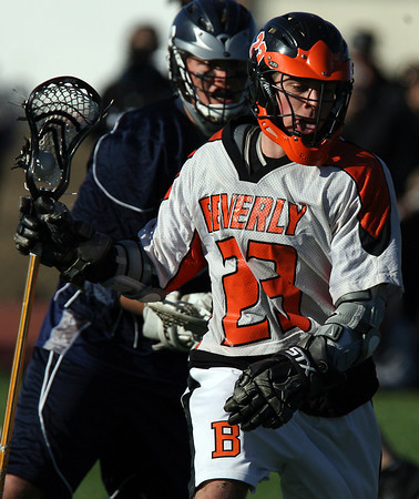 Beverly's Dan Brown (23) controls the ball against Hamilton-Wenham on Friday afternoon. David Le/Staff Photo