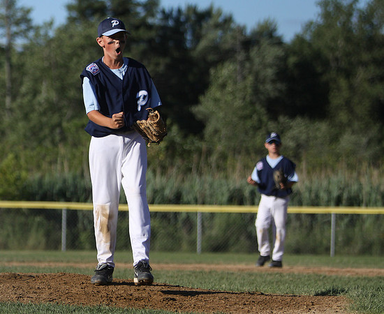Peabody: Peabody National starting pitcher Joe Maguire is emotionally charged after striking out a Danvers National batter in the teams' game Wednesday evening at Cy Tenney Park in Peabody. Photo by David Le/Salem News