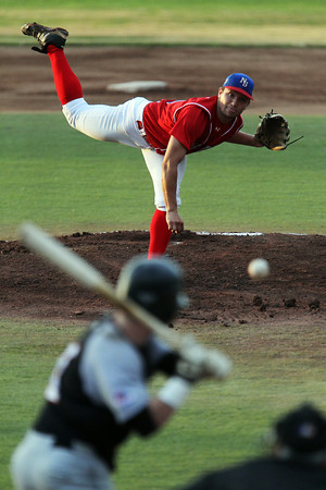 North Shore Navigators starting pitcher Bobby Dean, of Danvers, fires a pitch against the Nashua Silver Knights in Game 1 of the FCBL Championship at Fraser Field on Tuesday evening. David Le/Staff Photo