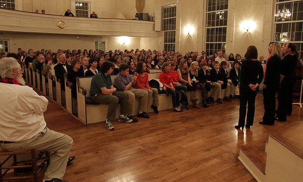Hamilton based a capella group Voices of Peace, right, sing to a large audience during a Choral Jubilee held at First Church on Arbor St. in Wenham on Wednesday evening. David Le/Salem News