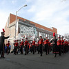 The Salem High School marches past the Cabot St. Cinema on Sunday afternoon. David Le/Salem News