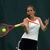 Ipswich High School second singles player Kaitlyn Kelley returns a volley against Bedford in the D3 North Final at the Bass River Tennis Club on Friday afternoon. David Le/Staff Photo