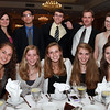 Front row, from left: Hamilton-Wenham senior students Camilla Worsfold, Anna Roberts, Bailey Grinnell, Rachel Landis, and Keira McGrath. Back row, from left, Hamilton-Wenham history teacher Kristen Borges, senior Chris Anderson, senior Stuart Rowe, Assistant Principal Bryan Menegoni, and senior Bekah Murray. at the 44th Annual Honor Scholars Recognition Dinner at CoCo Key Hotel in Danvers on Tuesday evening. David Le/Staff Photo