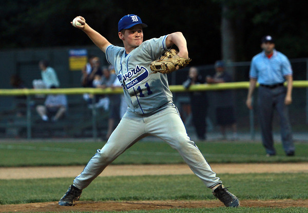 Danvers American starting pitcher Shane Smith fires a strike against Saugus American on Thursday evening.