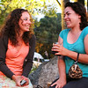 Michelle Duffy, left, and Stephanie MacGregor, both of Oxford, chat and have a few drinks during the intermission of Gypsy at the North Shore Music Theater in Beverly on Tuesday evening. For the first time in over a year the North Shore Music Theater was bustling with action and excitement from both old and new customers of the theater. Photo by David Le/Salem News