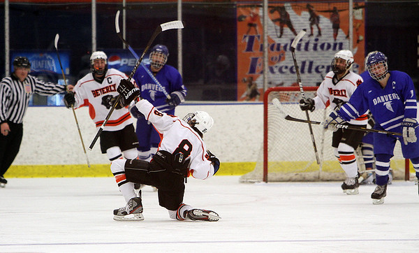 Salem: Beverly's Nick Albano (8) celebrates after scoring a goal against Danvers. David Le/Salem News