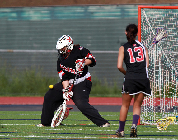 Marblehead goalie Allie Foreman makes a save against Beverly on Wednesday afternoon. David Le/Staff Photo